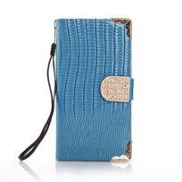 Coquediscount - Etui livre croco bleu à strass pour Samsung Galaxy S4 I9500