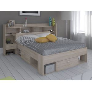 vente unique lit t te de lit kylian avec rangements 140x190cm ch ne pas cher achat. Black Bedroom Furniture Sets. Home Design Ideas