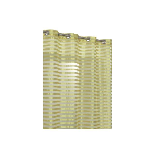 rideaudiscount rideau voilage aspect soie 140 x 240 cm au rayures opaques vert anis pas cher. Black Bedroom Furniture Sets. Home Design Ideas
