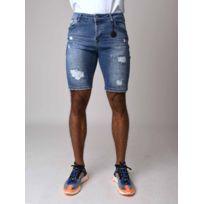1c89659032f51 Project X - Short en jean skinny effet déchiré et tacheté Homme Paris