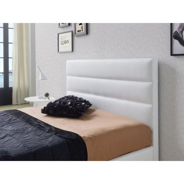 ma maison mes tendances t te de lit pour lit 180 cm en simili cuir blanc huasca l 192 x h. Black Bedroom Furniture Sets. Home Design Ideas