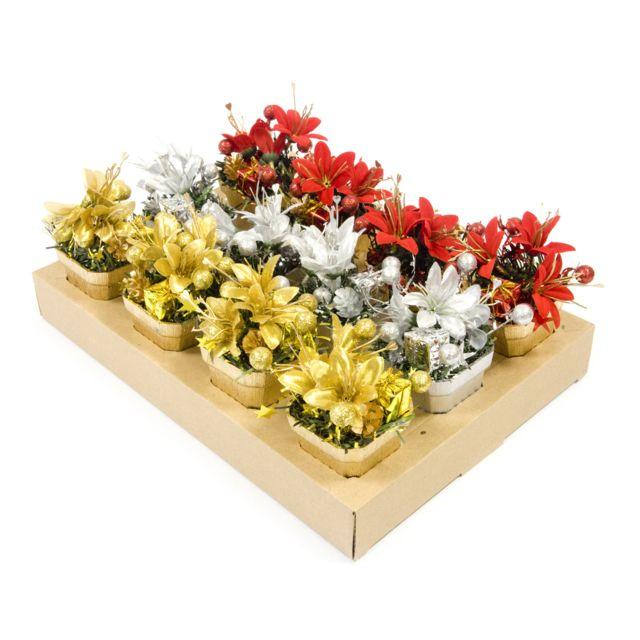 Visiodirect 12 pots de fleurs motif Noël coloris assortis - 11 x 6 cm