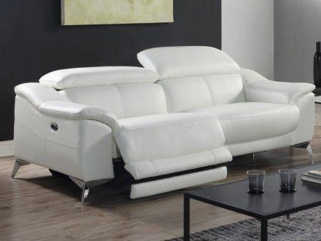 MARQUE GENERIQUE   Canapé 3 Places Relax électrique En Cuir DALOA   Blanc