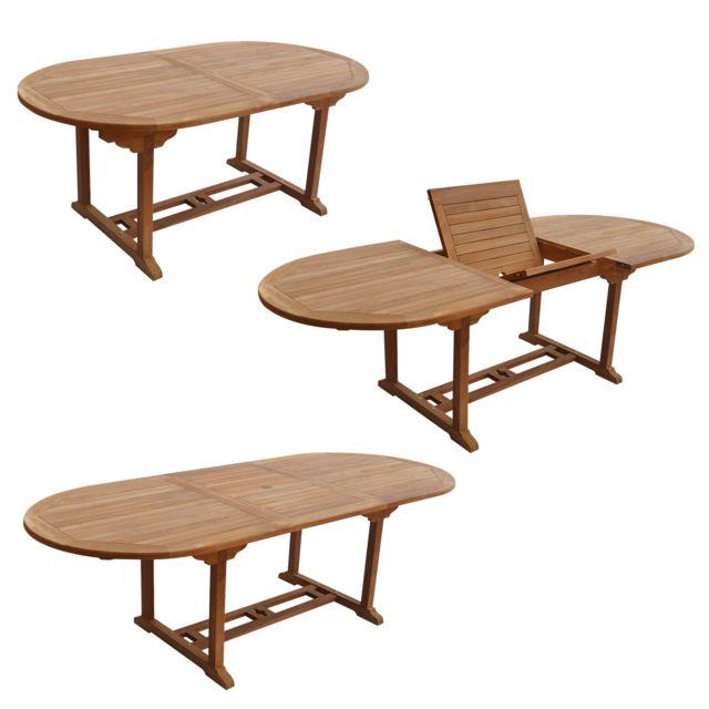 HAPPY GARDEN - Salon de jardin LOMBOK - table extensible ...