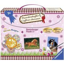 Ravensburger - 29741 - Loisirs créatifs - Coffret chevaux 1 mini mandala, 1 numéro d'art, 1 puzzle x 100 pièces