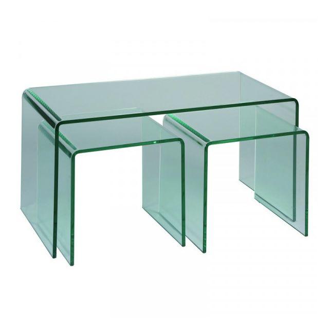 Dansmamaison Tables de salon 2 gigognes Verre - Nacle - L 86 x l 46 x H 46 cm