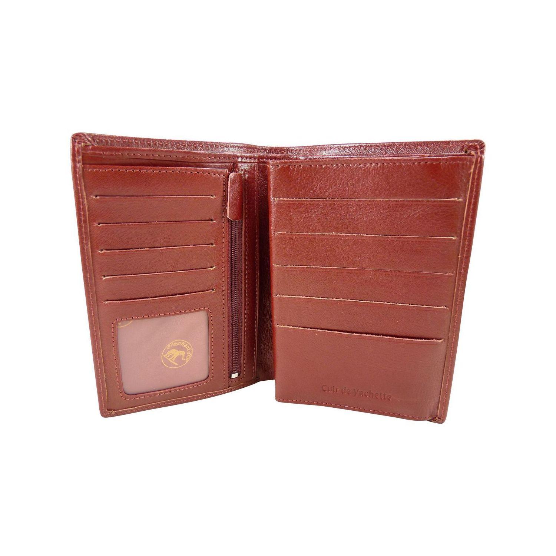 CHAUSSMARO- Grand Portefeuille 4 Volets en Cuir de vachette - Rouge 90ee37ba39f