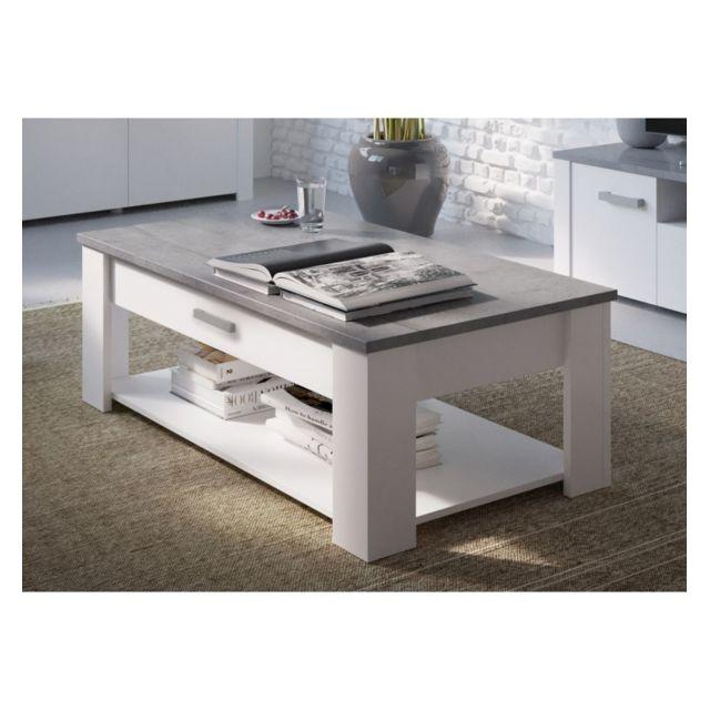 demeyere le depot bailleul table basse 120x64 cm tennesse blanc gris b ton woodcorn pas. Black Bedroom Furniture Sets. Home Design Ideas