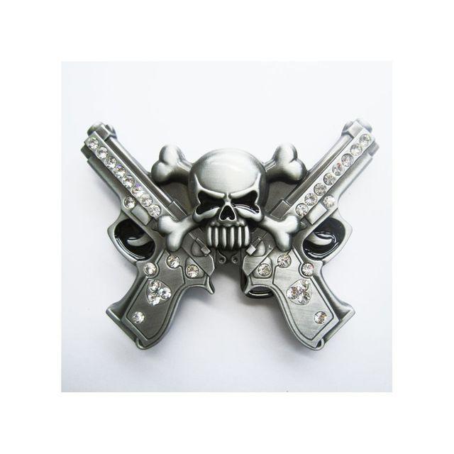 Universel - Boucle de ceinture pistolets crane pirate tete mort strass f7e9e35f67f