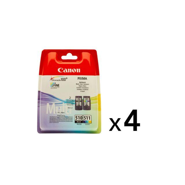 CANON PG510/CL511 - Lot de 4 Packs de 2 Cartouches d'encre 4 Couleurs