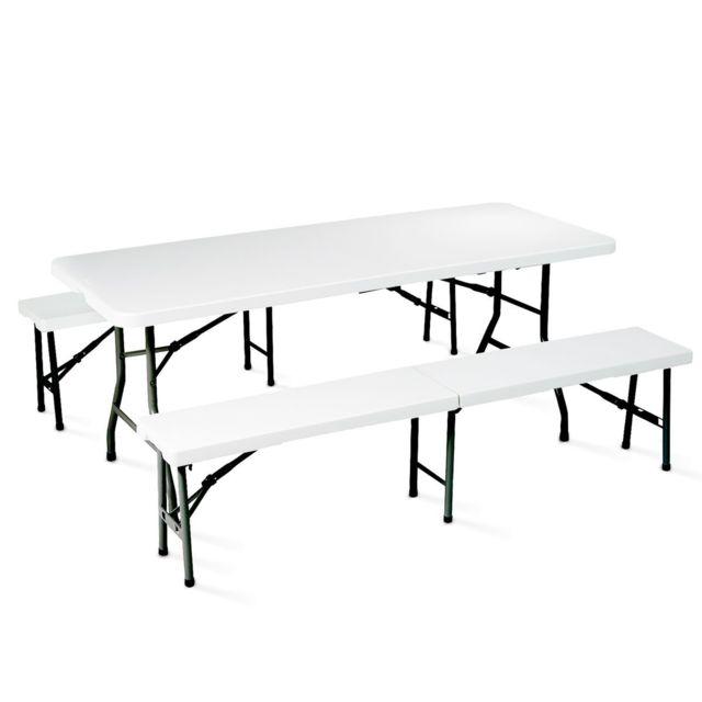 mobeventpro table pliante camping et 2 bancs pliants de jardin 180cm 8 places r ception. Black Bedroom Furniture Sets. Home Design Ideas