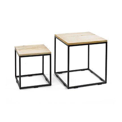 Lot de 2 tables d'appoint bois et métal - Ciudad