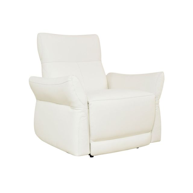 Momentime Fauteuil relax électrique en cuir Crisalis - Blanc