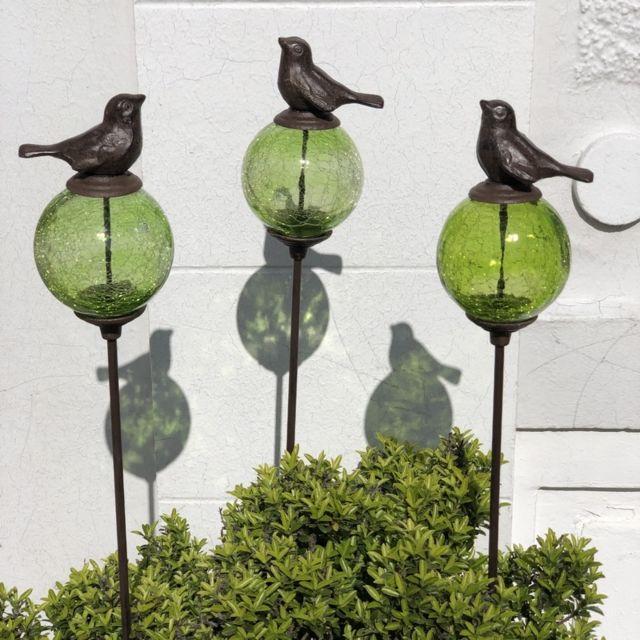 L'ORIGINALE Deco 3 Pics Tige Tuteurs Porte Plante de Jardin Vert Oiseau Marron 117 cm