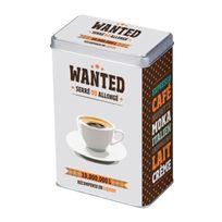Foxtrot - Boite à café en métal motif étoile et tasse à café 23x17x14.5cm Wanted