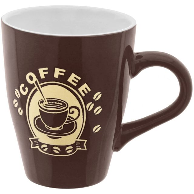 promobo mug tasse a caf 300ml design pub vintage chic coffee marron pas cher achat vente. Black Bedroom Furniture Sets. Home Design Ideas