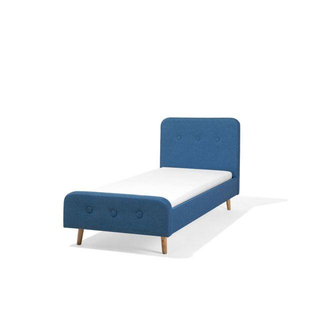 BELIANI Lit simple avec sommier à lattes 90x200 cm bleu foncé RENNES - bleu foncé