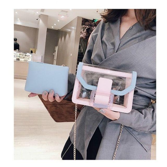 recherche d'authentique meilleures offres sur gamme de couleurs exceptionnelle Sac porté épaule à bandoulière transparent 2 en 1 Petit carré à main  Messenger pour femme bleu