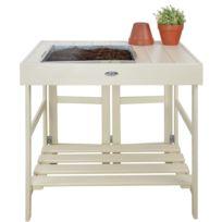 MARQUE GENERIQUE - Table de rempotage en pin et zinc