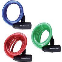 Masterlock - Câble antivol à clé s'enroulant L.1,8m