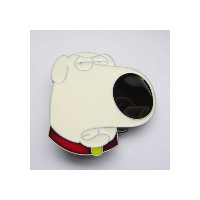 Universel Boucle de ceinture tete de chien blanc truffe noir homme