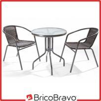 Salon de jardin en poly rotin 2 chaises + table Ø60 cm métal mobilier de  jardin
