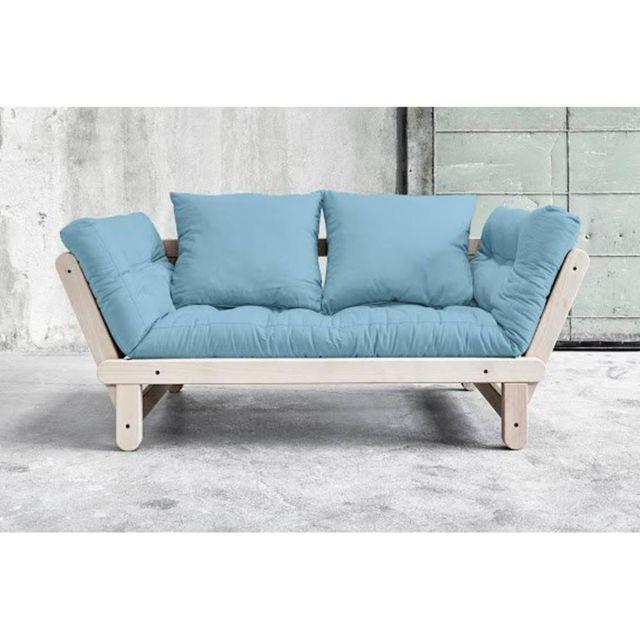 Inside 75 Banquette méridienne convertible futon bleu celeste Beat Beech couchage 75 200cm