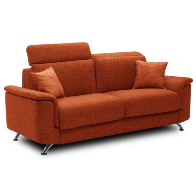 Inside 75 Canapé 3-4 places Empire convertible ouverture Rapido 160 195 14cm microfibre orange