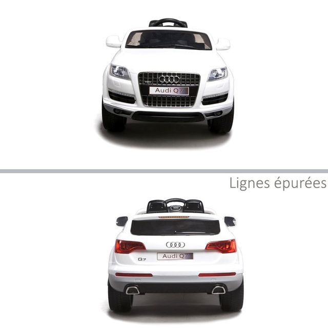 Audi - Voiture électrique enfant audi Q7 roues en gomme Eva 12V Blanc a5ddfb91bef0