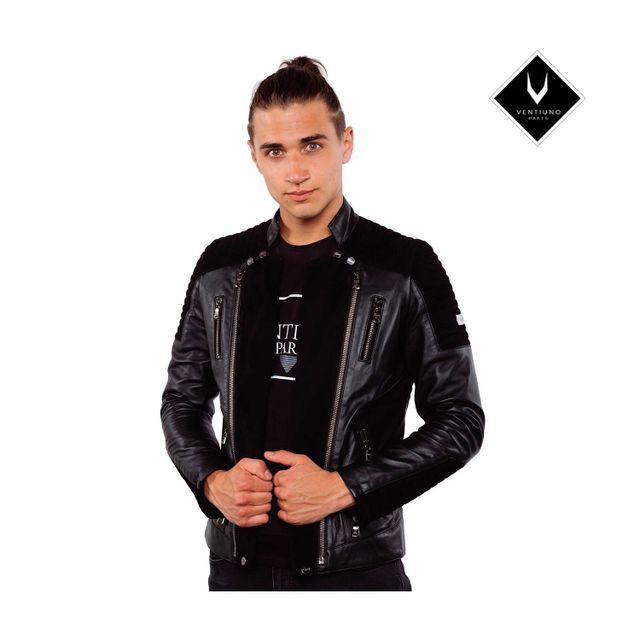 VENTIUNO ALEX Veste motard en cuir d'agneau et daim noir all-black noir