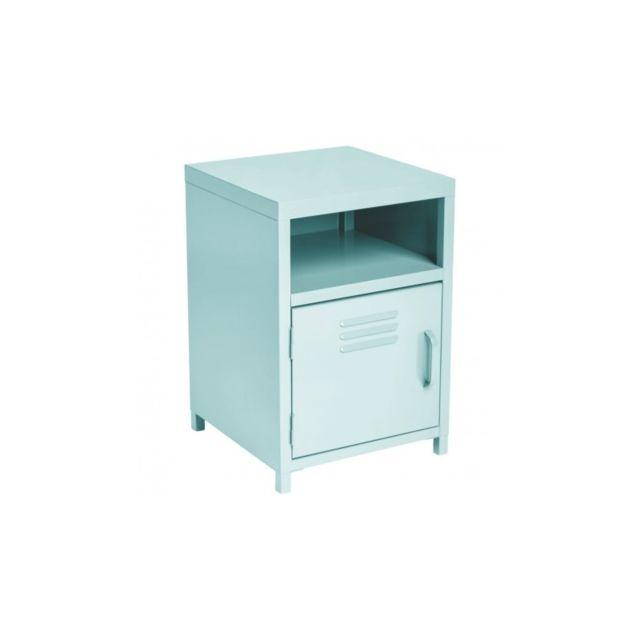 table de chevet m tal bleu pas cher achat vente. Black Bedroom Furniture Sets. Home Design Ideas