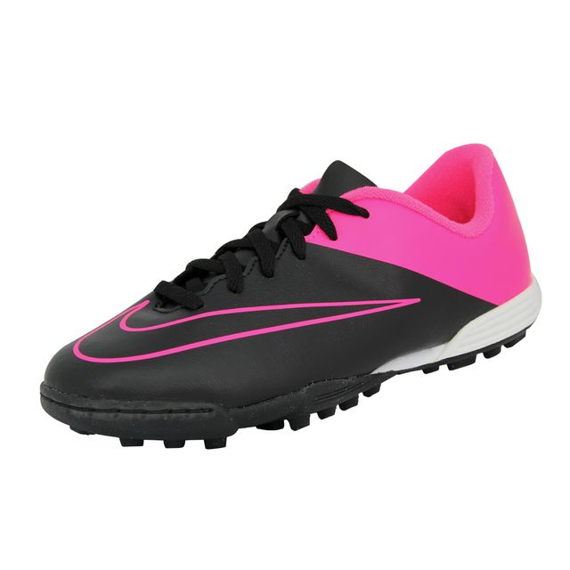 Jr Mercurial Vortex Ii Tf Chaussures de Football Fille Enfant Noir Rose