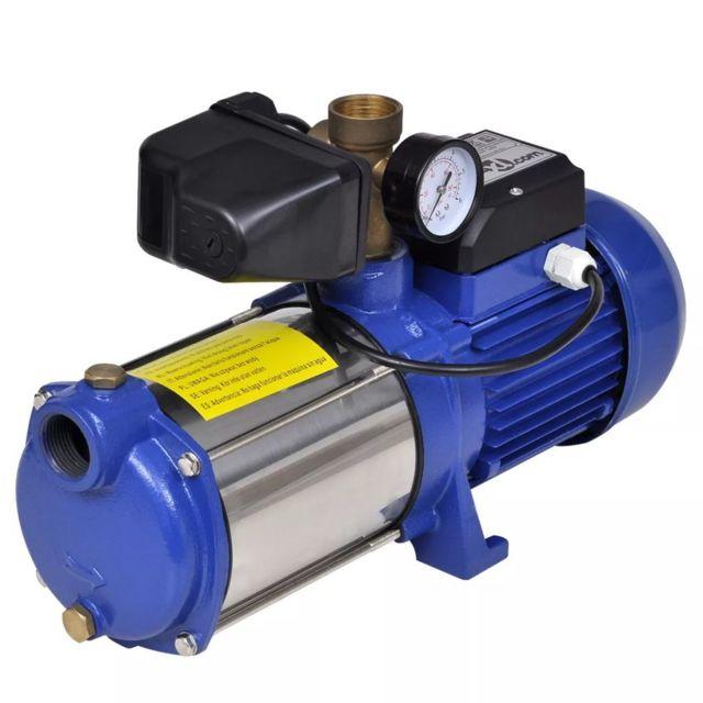 Vidaxl Pompe à eau de surface bleue avec manomètre 1 300 W 5 100 l/h
