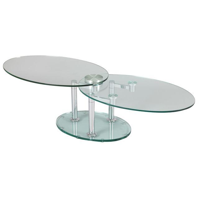 Marque Generique Table Basse 2 Plateaux Ovales En Verre Trempe