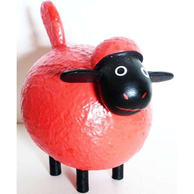 Les Animaux De La Fee Mouton déco Color taille M Rouge