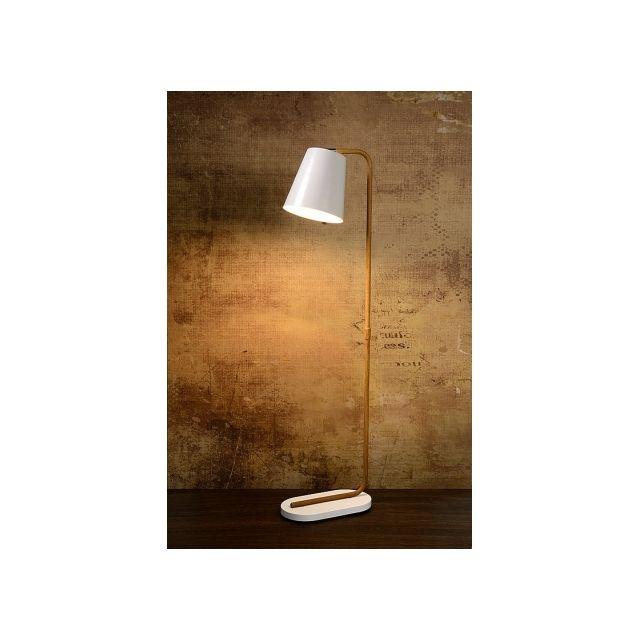 Lucide - Lampadaire abat-jour Cona H140 cm Blanc - 20cm x 140cm x 38cm