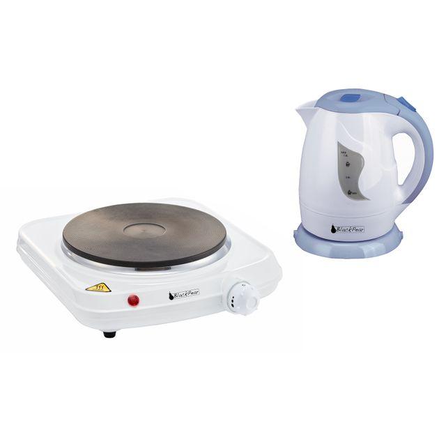 Blackpear Plaque de cuisson 1 feu 1500W antiadhésives + Bouilloire 1L 900W
