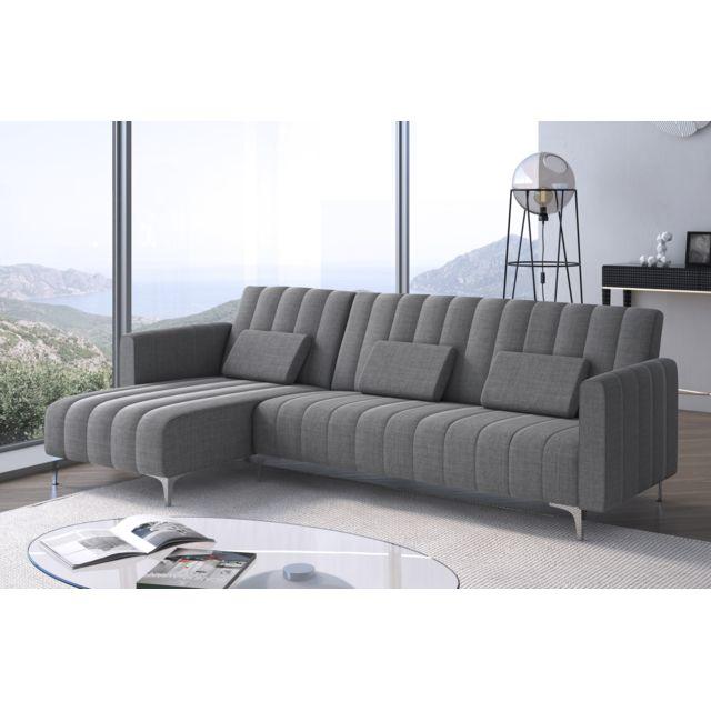 COMFORT Canapé-lit chaise longue Milano de 267cm, convertible en lit, réversible, gris clair avec rayures