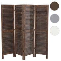 Mendler - Paravent / s?paration bois, 4 pans, 182x2x170cm, shabby, vintage, marron