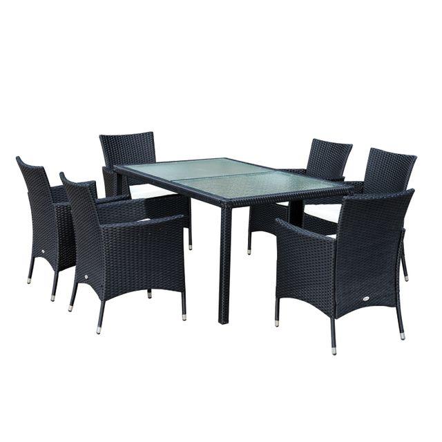 OUTSUNNY - Ensemble salon de jardin 6 fauteuils avec ...