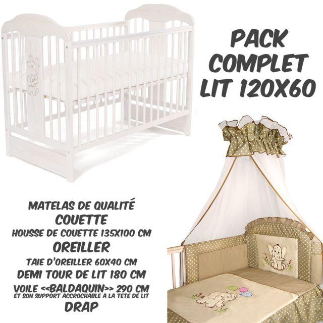 TOMI PACK COMPLET Lit bébé 14 Eléphant Blanc+Matelas+Parure complète BEIGE A POIS+Baldaquin