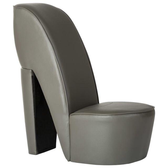 Joli Fauteuils et chaises gamme Panama Chaise en forme de chaussure à talon haut Gris Similicuir
