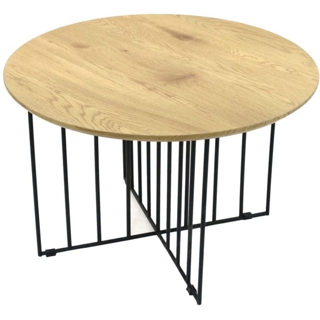 THE HOME DECO FACTORY Table basse en bois et métal Maverick