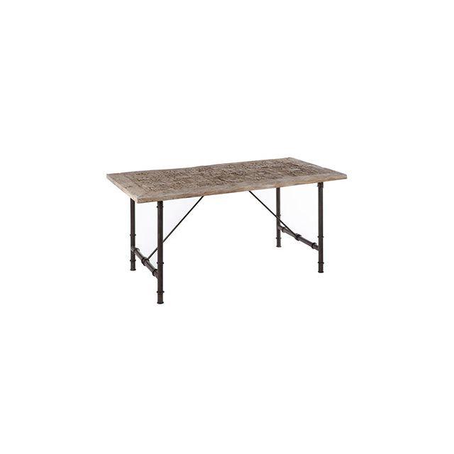 Table à manger 180x90x75cm en métal et bois gris