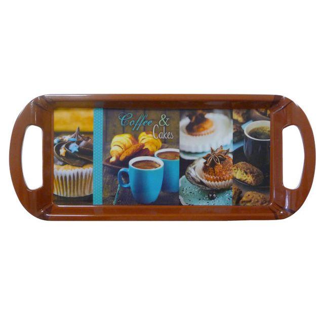 Sans Marque Plateau De Cuisine - 35 X 15 Cm - Coffe & Cakes - Bleu