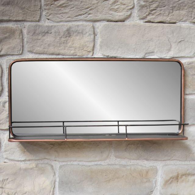 L'ORIGINALE Deco Miroir Mural Industriel Miroir Etagère Tablette Fer Métal 91 cm