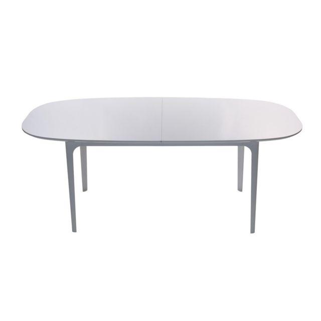 Tousmesmeubles Table de repas Blanche extensible - Ovo - L 200 / 250 x l 100 x H 75