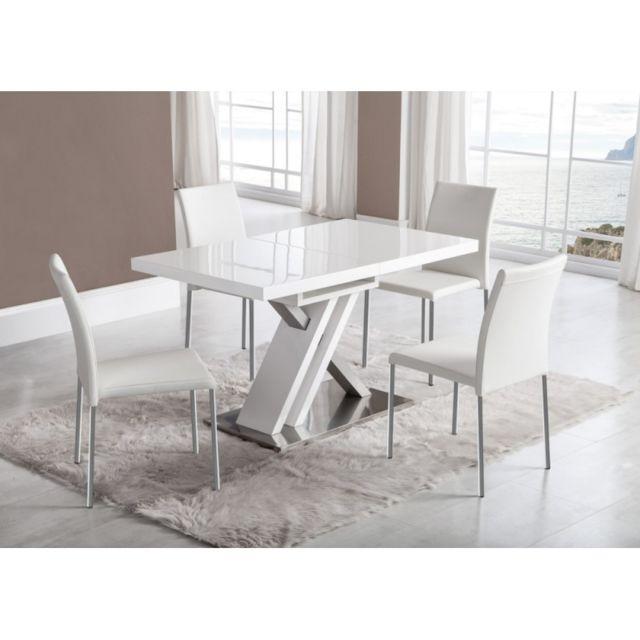 Ma Maison Mes Tendances Table à manger rectangulaire extensible 130-170cm en bois laqué blanc et argent Orion - L 130 x l 80 x H 76