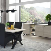 Salle à manger moderne couleur bois clair et noir Yael