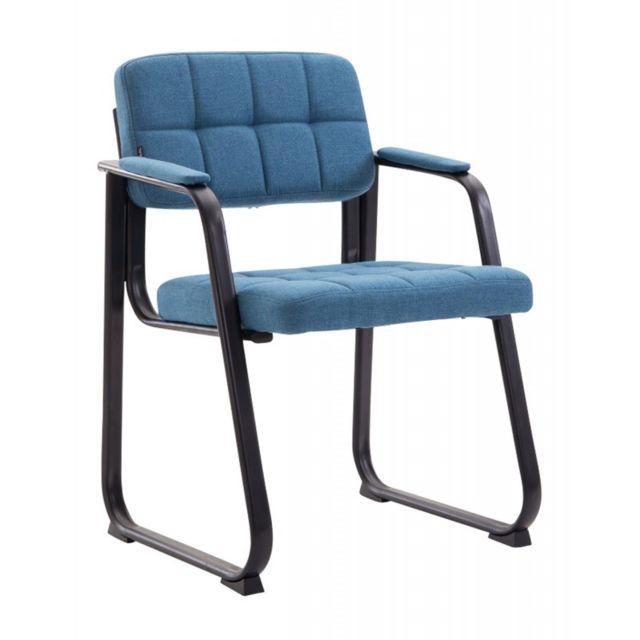 Decoshop26 Chaise visiteur fauteuil de bureau sans roulette en tissu bleu Bur10213